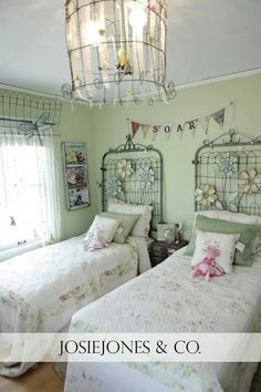 love the old gates on the wall as bed heads