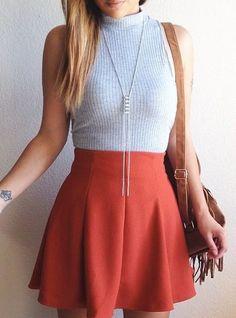 Textured High-Waisted Skater Skirt