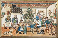 The most typical Czech Christmas and winter themes painted by the Czech painter… Family Christmas, Christmas And New Year, Vintage Christmas, Christmas Cards, Christmas Decorations, Advent, Winter Solstice, Winter Theme, Children's Book Illustration