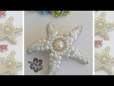 YouTube Artist Album, Lapel Pins, Beaded Embroidery, Starfish, Beading Patterns, Diy Tutorial, Embellishments, Diy And Crafts, Brooch