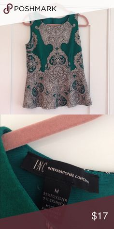 INC Jade Green Paisley Peplum Top Adorable stretchy peplum top with scrolled paisley pattern. International Concepts line from Macy's. Check out the rest of my closet - prices are low, and I offer a 30% discount on bundles of only TWO items or more! INC International Concepts Tops