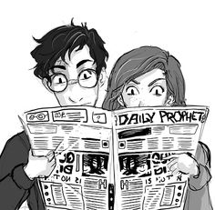 dreamsoffools: All I can think of is the Potters reading the  Daily Prophet .http://dreamsoffools.tumblr.com/post/91404615990/all-i-can-think-of-is-the-potters-reading-the