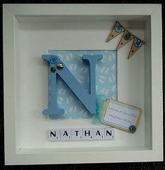 Personalised scrabble tile frame New Baby Christening Boy & Girl Gift Keepsake