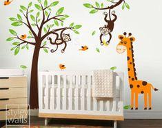 Tree Wall Decal, Monkey and Giraffe Wall Decal, Monkey Wall Decal, Giraffe Wall Decal, Jungle Animals Wall Decal for Baby Nursery Kids Room