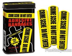 Crime Scene Do Not Enter Bandages Sterile Strips Call in the CSI Team! Put one of these Crime Scene Bandages on your wound to scare off the germs. Each cm) tall metal tin contains twen Gag Gifts, Funny Gifts, Bandage, Forensics, Criminal Justice, Criminal Minds, Gifts For Teens, Stocking Stuffers For Teenagers, Paper Cutting