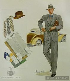 Rich Kids : First Illustration by Laurence Fellows – Apparel Arts Spring 1933 1940s Mens Fashion, Mens Fashion Suits, Retro Fashion, Vintage Fashion, Men's Fashion, Classic Fashion, Vintage Gentleman, Vintage Men, Fashion Illustration Vintage