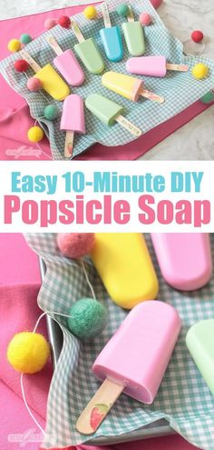 Quick & Easy Homemade Popsicle Soap Kids will go wild for this fruity-scented popsicle-shaped easy homemade soap. You can make a batch in just 10 minutes using your microwave! These popsicle soaps are great party favors or a summertime craft with kids. Homemade Soap For Kids, Homemade Party Favors, Homemade Soap Recipes, Homemade Crafts, Homemade Popsicles, Presents For Kids, Birthday Gifts For Girls, Home Made Soap, Craft Party