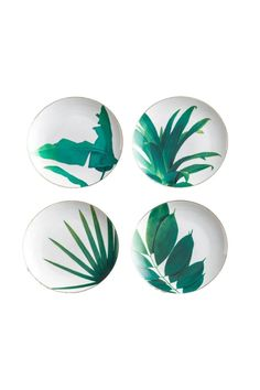 """Uber-glam and sophisticated tropical paradise plates in white, gold, and glittering emerald. Set of four assorted plates in a gift box. Designed in the USA. Porcelain with gold accent Do not microwave.Handwashingrecommended.    Dimensions: 8"""" Dia   Tropical Appetizer Plates by Black Rooster Decor . Home & Gifts - Home Decor - Dining Toronto, Canada"""