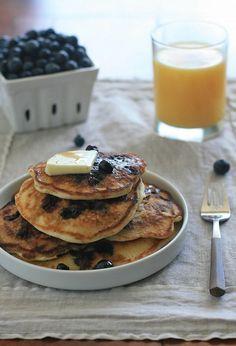 Gluten Free Blueberry Buttermilk Pancakes by Girl Cooks World. #glutenfree