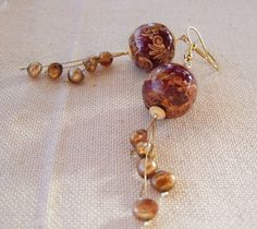 Orange glossy plum gold cream and bronze exotic by Mouflon on Etsy, €25.00