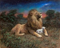 The Lamb and the Lion=Jesus Christ (Yahweh) -Jon McNaughton Bible Pictures, Jesus Pictures, Bible Images, Musical Rey Leon, Jon Mcnaughton, Lion And Lamb, Lion Painting, Litho Print, Prophetic Art