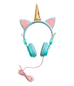 Turquoise& On-ear headphones in plastic and metal with a corded cable. Glittery headband with decorative appliqués. Fits mobile phones with a mm H&m Sale, American Girl Birthday, Unicorn Kids, Unicorn Party, Pastel Goth Fashion, Color Turquesa, Best Deals Online, Girls Accessories, Phone Accessories