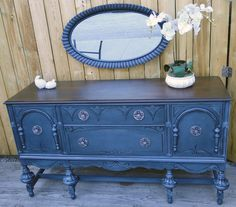Coastl Blue and Java Buffet | Design Ideas For Finishing Furniture, Cabinets & Floors