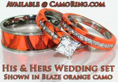 Blaze orange hunters camo rings would like this for a promise ring cy