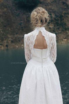 "Long sleeve Wedding dress made from Atlas and Venetian Lace, Winter Wedding dress lace long sleeve wedding dress, Boho gown - ""Malta"""