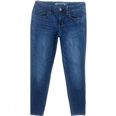 """American Eagle Super Stretch Jeggings Jeans American Eagle jeggings. Medium blue, distressed wash. Cotton/Elastane. Size 8 Short. They have a 7"""" rise and 27"""" inseam. They are short length, perfect for petite girls! Pre-owned condition. Amazing fit! American Eagle Outfitters Jeans"""