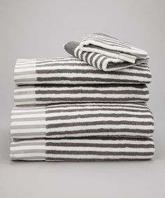 Take a look at this White & Silver Country Road Towel Set by Espalma on #zulily today!