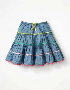 Some skirts are just made for twirling. With a full shape and multiple tiers, this is one of them. Eye-catching embroidered spots, rickrack trims and a bright waist ribbon add a playful touch, while t Little Girl Skirts, Baby Girl Skirts, Baby Skirt, Skirts For Kids, Dresses Kids Girl, Baby Dress, Kids Outfits, Girls Skirt Patterns, Full Skirt Outfit