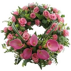Rose & calla funeral wreath