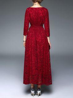 JEAN DAVIS PINTEREST BOARDS Elegant Crocheted A-line 3/4 Sleeve V Neck Lace Maxi Dress
