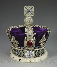 The Imperial State Crown. Set in The Imperial State Crown is a magnificent carat Cullinan II diamond, also known as the Lesser Star of Africa, was cut by the Asscher Diamond Company. Crown Royal, Royal Crowns, Royal Tiaras, Queen Crown, Tiaras And Crowns, The Crown, Imperial State Crown, British Crown Jewels, Elisabeth Ii
