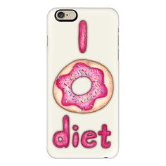 iPhone 6 Plus/6/5/5s/5c Case - I Donut Diet - cute food illustration ($40) ❤ liked on Polyvore featuring accessories, tech accessories, phone cases, phone, cases, iphone, iphone case, iphone cover case, slim iphone case and apple iphone cases