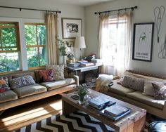 Living Room Reds + Sage + Neutrals + Window Treatments Design, Pictures, Remodel, Decor and Ideas - page 2