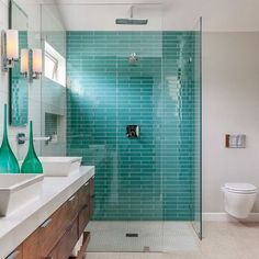 Turquoise fishscale tile walls concrete floor tall - Azulejos gresite para duchas ...