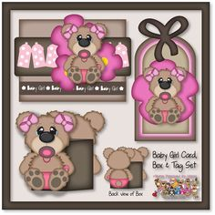 Baby Girl Bear Card, Box and Tag Pattern/Image Set by PaperPiecingsbyNikki.com for $5.00