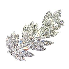 Swarovski Crystal Feather Brooch - Bridal Jewellery - Crystal Bridal Accessories