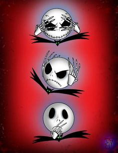 Jack Skellington sees no evil, hears no evil, speaks no evil! Brilliant!♡♡