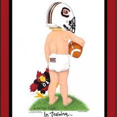 South Carolina Gamecocks football art print  In Training matted licens
