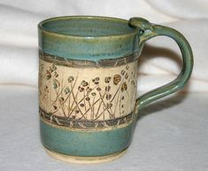 Ceramic Pottery Mug / Carved Flowers.