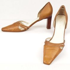 "Size 7.5 Lauren #RalphLauren #Altheda Square Toe Wooden Heel Leather 3"" #WomensShoes #womensheels #somelikeitused"