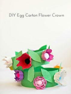 DIY Egg Carton Flower Crown. Cute way to celebrate spring with the kids!