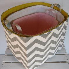 Fabric Organizer Bin Toy Storage Container Basket - Light Pink/ White Chevron - New Design - 8 x 8 x 8. $28.00, via Etsy.