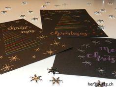 Weihnachtskarten besticken und mit Lettering verzieren