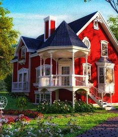 Red House Paint Designs Innovative Victorian Cottage Homes in attachment with category Design Victorian Style Homes, Victorian Cottage, Victorian Farmhouse, Victorian Homes Exterior, Modern Victorian, Vintage Modern, Red Houses, Red Cottage, Historic Homes