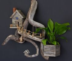 Need to get some driftwood from Luceno's river walk! Gnome House, Believe In Magic, Gnomes, Diy Projects, River Walk, Crafty, Bird, Driftwood, Outdoor Decor