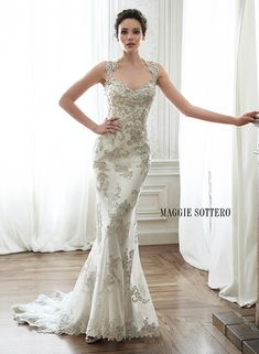 Swooning over this gorgeous beaded sheath wedding dress, Jade by Maggie Sottero.