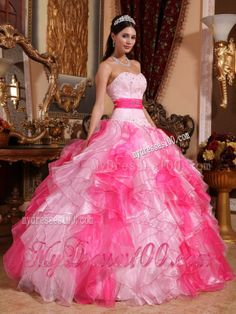 Two-toned Pink Sweetheart Beaded and Ruffled Quinceanera Dress