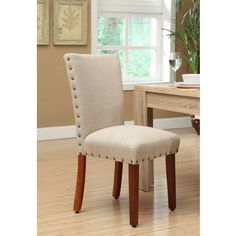 Tan Nail Head Parsons Chairs (Set of 2) | Overstock.com Shopping - The Best Deals on Dining Chairs