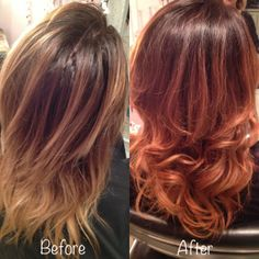 ombre hair edge | Before and after, blonde to copper ombre