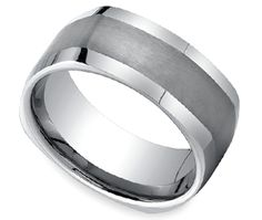 This tungsten Men's band is 9 millimeters wide and features a four-sided profile and a satin finished center for a modern look. Comfort-Fit and proudly made in the USA by Brilliance.  http://www.brilliance.com/wedding-rings/four-sided-mens-band-tungsten