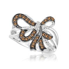 LeVian Chocolate Diamond and Platinum Bow