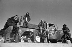 AIM militants at their checkpoint on road leading into Wounded Knee, 1973.  Photo credit: Jim Hubbard
