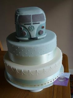 Wedding Cake with a VW Bus for a Topper...