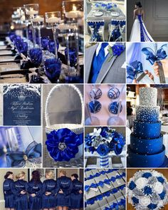 "Royal Blue, White and Silver Weddings is part of Blue wedding decorations - Royal blue for a royal wedding! Nothing quite ""makes a splash"" like royal blue set against a crisp white background Silver Winter Wedding, Blue Silver Weddings, Silver Wedding Decorations, Blue Wedding Centerpieces, Winter Wedding Colors, Purple Wedding, Wedding Themes, Sapphire Wedding Theme, Wedding Ideas Royal Blue And Silver"