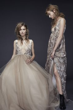 LOOK 13 (LEFT). Rose V-neck empire ball gown with hand appliqué flowers and crystals at bodice accented by dark ivory grosgrain straps and tonal tulle skirt   LOOK 14 (RIGHT). Rose V-neck empire gown with hand appliqué flowers and crystals