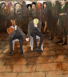 Tags: Fanart, Harry Potter, Pixiv, Hermione Granger, Luna Lovegood, Harry Potter (Character), Draco Malfoy, Ron Weasley, Ginny Weasley, Cho Chang, George Weasley, Fred Weasley, Bangs, Pansy Parkinson, Blaise Zabini, Fanart From Pixiv, Vincent Crabbe, Gregory Goyle, Weasley Twins, Weasley Family, Lavender Brown, Lee Jordan, Pixiv Id 2822152, Dean Thomas, Seamus Finnigan, Hand Holding Punishment